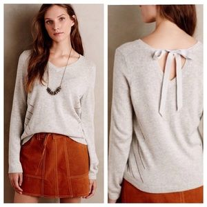 Anthropologie Moth Tie Back Pullover Sweater Gray